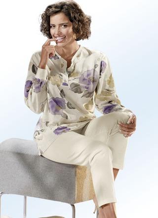 g tting schlafanzug langarm mit knopfleiste und b ndchen. Black Bedroom Furniture Sets. Home Design Ideas