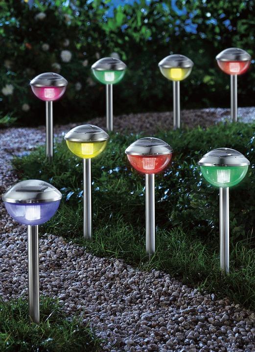solarleuchten garten bunt licht im edelstahl 8er set in farbe silber rosamunde produkte fa 1 4 r 37149 000