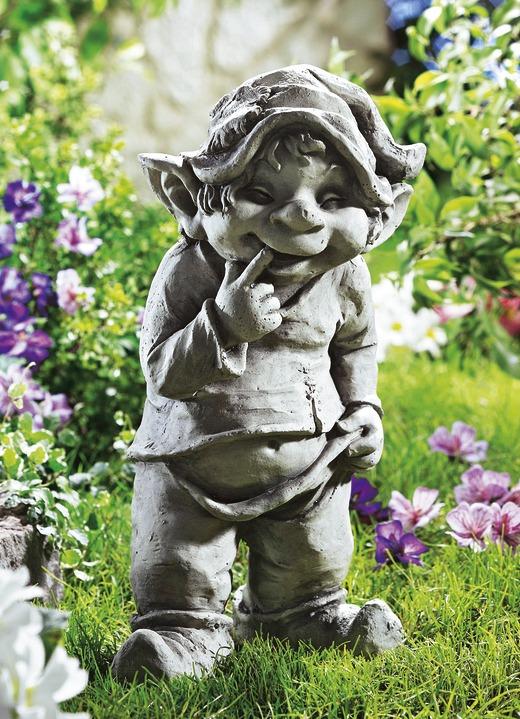 Gartendekoration   Wichtel, Stehend, In Farbe GRAU