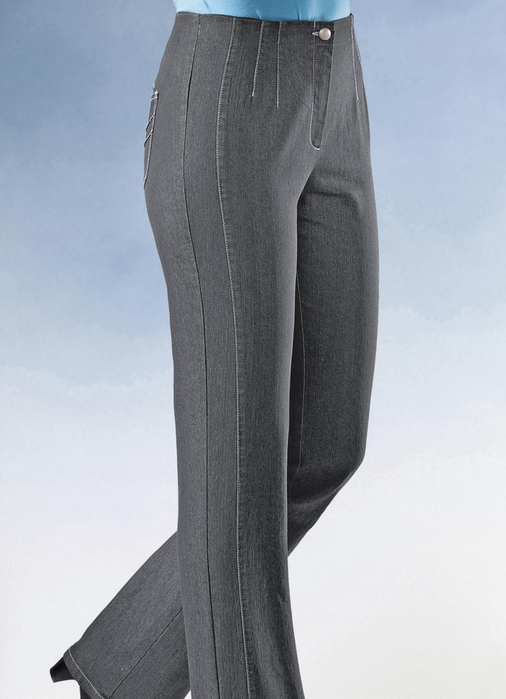 jeans mit angeschnittenem bund in 5 farben hosen bader. Black Bedroom Furniture Sets. Home Design Ideas