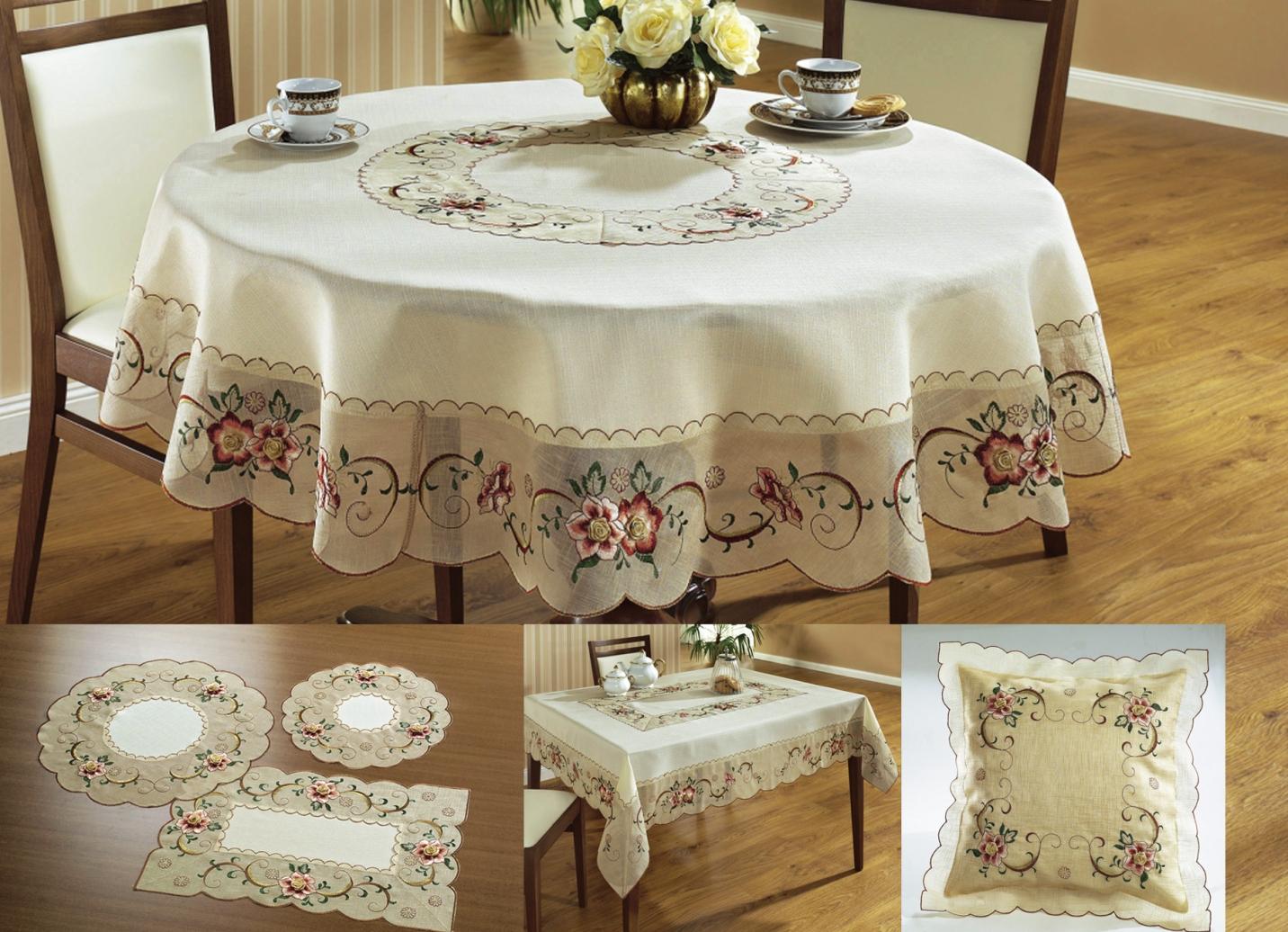 sch fer tischdekoration mit aufgesetzter rosenknospe tischdecken bader. Black Bedroom Furniture Sets. Home Design Ideas