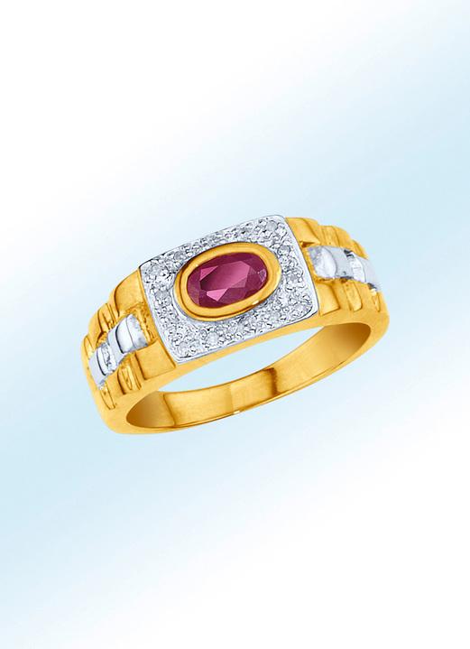 5550e9fc23 Ringe - Partnerring mit echt Rubin und echten Diamanten, in Größe 16.0 bis  24.0,