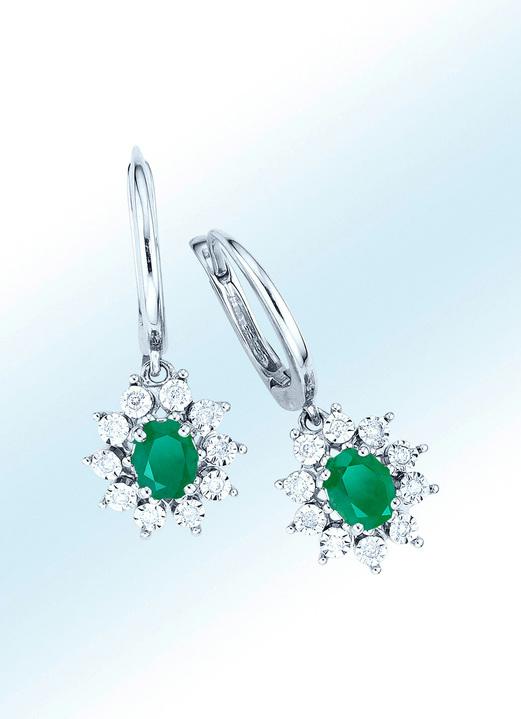 offizielle Seite klare Textur authentische Qualität Ohrringe mit echt Smaragd und Diamanten