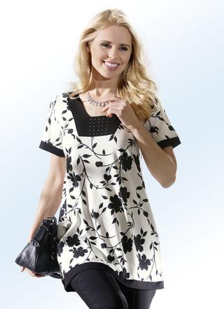 longshirt mit floral dessin in 3 farben shirts bader. Black Bedroom Furniture Sets. Home Design Ideas