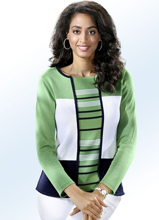 Pullover in Twinset-Optik mit Color-Blocking