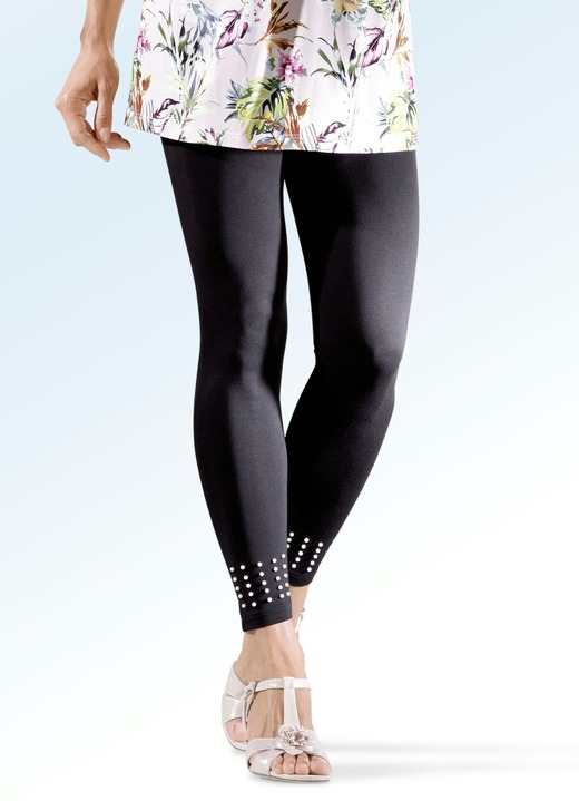 c86623729b87cd Leggings mit Perlenzier am vorderen Beinabschluss