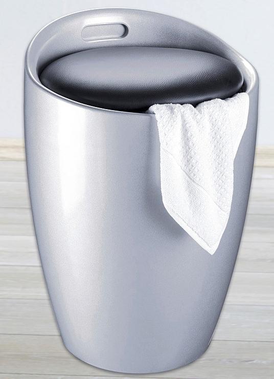 sitzhocker mit stauraum in 2 farben badezimmer accessoires bader. Black Bedroom Furniture Sets. Home Design Ideas