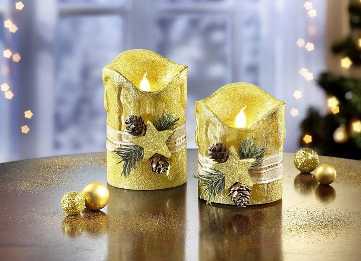 Led echtwachskerzen 2er set in verschiedenen farben weihnachtliche dekorationen bader - Bader weihnachtsdeko ...