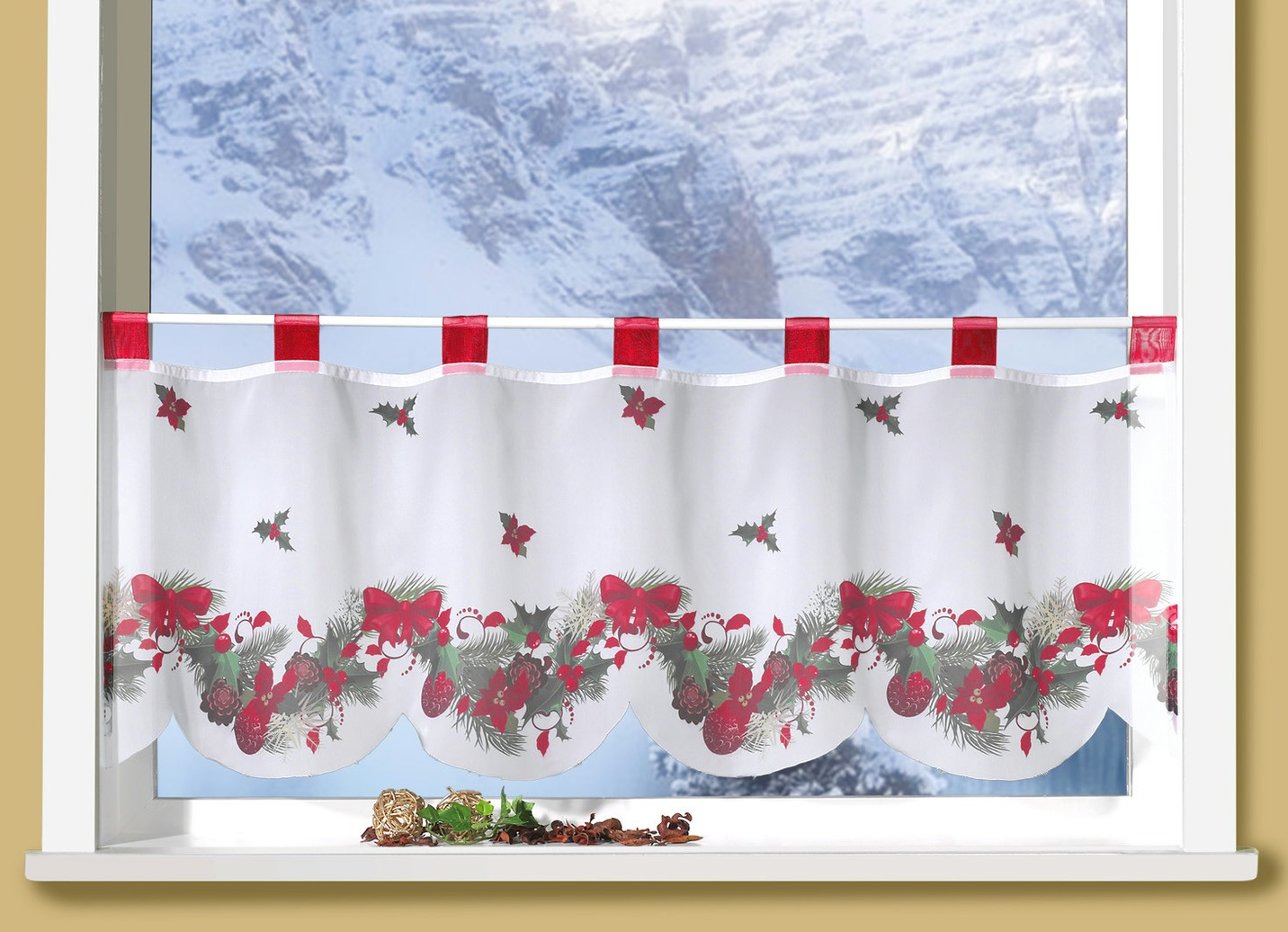 Gardinen Weihnachten.Fenster Vorhang Weihnachten Zuhause Image Idee