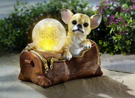 Solarleuchte Chihuahua aus Polyresin