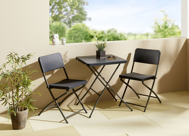Gartenmöbel - Balkon-Set in Rattan-Optik, in Farbe ANTHRAZIT