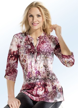 Floral dessinierte Shirt-Tunika