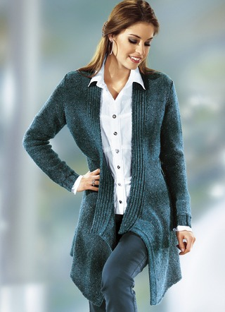 Long-Strickjacke aus Melangegarn